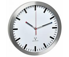 Reloj de pared TFA Dostmann con control por radio, metal, weiß, 30 x 30 x 4.5 cm