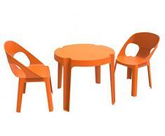 Resol Set Rita - Color Naranja, Set de 1 Mesa y 2 sillas