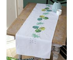 VervacoPN-0165756, Kit para Camino de Mesa con Diseño Impreso, Hojas Botánicas, Blanco/Multicolor, 38 x 142 cm