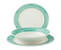 H&H H&H Siena - Vajilla de 12 Piezas de cerámica, Verde/Blanco, 25 x 21 x 25,5 cm