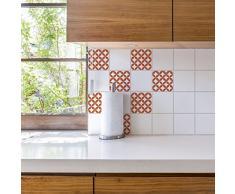 PLAGE Adhesivos para Azulejos y decoración de la Pared, Vinilo, Naranja, 15x15cm