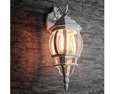 Luz de pared rústica para al aire libre en blanco E27 230 V a 60 vatios, iluminación de jardín, patio