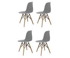 La Silla Española Laredo, sillas de estilo nórdico, asiento en simil piel y patas en madera, gris, 47x42x83 cm, 4 unidades