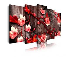 DekoArte 412 - Cuadro moderno en lienzo 5 piezas diseño paisaje de flores en tonos rojizos, 150x3x80cm