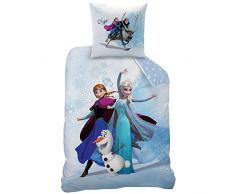 CTI 043662 Juego de ropa de cama para habitación infantil (algodón, funda nórdica de 140 x 200 cm y funda de almohada de 63 x 63 cm), diseño de Frozen, color azul