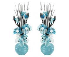 A juego Par de azul flores artificiales, vidrio, Blue in Blue Vase, 11.5 x 11 x 32 cm