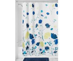 InterDesign Aster Floral Cortina de baño | Cortina para bañera o plato de ducha, 183 x 183 cm | Decorativa cortina de ducha con estampado floral | Poliéster azul/verde lima