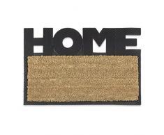 Relaxdays – Felpudo HELLO para la entrada del hogar, 1.5 x 40 x 60 cm, Fibra de coco y PVC, antideslizante, Color natural