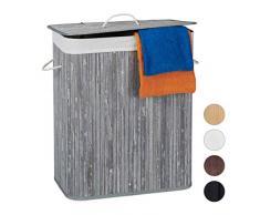 Relaxdays Cesto Ropa Sucia con Tapa y 2 Compartimentos, Cubo Colada Plegable, Canasta, Bambú, 95 L, Gris