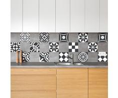 24 pegatinas adhesivos carrelages | adhesivo adhesivo azulejos – Mosaico Azulejos de pared de baño y cocina | azulejos adhesiva – blanco y negro – 10 x 10 cm – 24 piezas