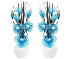 A juego Par de azul flores artificiales, vidrio, Dark Teal in White Vase, 11.5 x 11 x 32 cm