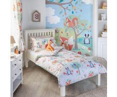 Animales del Bosque Junior infantil cama de matrimonio juego de funda de edredón y funda de almohada infantil, diseño de Fox Ardilla, color crema
