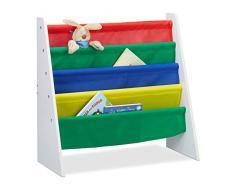 Relaxdays, Multi-Color Librería Infantil, Mueble de almacenaje de Juguetes, MDF+Poliéster, 60 x 61,5 x 28,5 cm