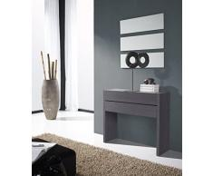 Gomueble 0616015 - Recibidor con espejo, ideal para espacios reducidos, color eco y blanco