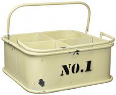 Pide X esa Boca Cubeta Nº1 Caja Organizadora con Asas, Metal, Blanca, 27x28x13 cm