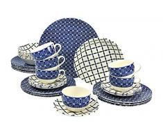 Creatable 19711Â Serie Aurora, Vajilla, Porcelana, Azul, 40Â x 32,5Â x 32,5Â cm, 30Â Unidades