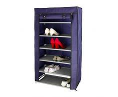 rebecca mobili Armario Zapatos 7 Niveles Tela con Cremalleros Mueble Almacenamiento organizador Dormitorio (Cod. RE4977)