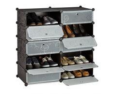 Relaxdays Zapatero Modular con 10 Compartimentos, Negro, 36.5x94x90 cm