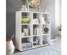 Wohnling Diseño Estante Zara con 9 Compartimentos Color Blanco 108 x 104 x 29 cm | Estantería Madera, pie | Carpeta Estantería biombos Dados de estantería Modern | Estantería de almacenaje Abierto