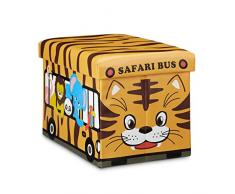 Relaxdays Almacenaje de Juguetes Autobús Safari, Piel sintética, Amarillo, 32x48x32 cm