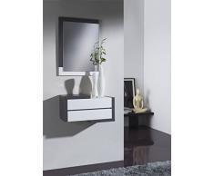 Gomueble 0622075 - Recibidor con espejo, ideal para espacios reducidos, color eco y blanco