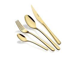 Monix Pisa Gold - Set de cubiertos de 24 piezas con cuchillo chuletero, acero inoxidable 18/10, diseño contemporaneo, acabado pulido brillante dorado, espesor 3 mm (6 comensales)