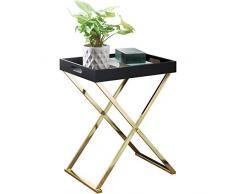 Wohnling mesa auxiliar Nina de TV Tray plegable 46x 61x 32cm negro/oro, Salón Mesa de diseño con bandeja para servir |–Mesa de café Modern | Bandeja Mesa Mesa | estante de madera con estructura de metal