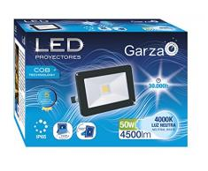 Garza Lighting Outdoor - Foco Proyector LED Exterior IP65 COB, 50W, Luz Neutra 4000K, Negro