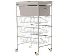 DRW Carro 3 cestas y cajón y balda Ruedas en c Blanco 32x40x88cm, Metal y ABS, 32 x 40 x 88 cm