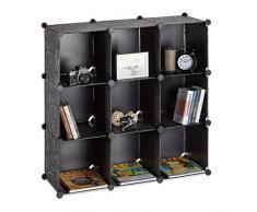 Relaxdays Estantería Modular con 9 Compartimentos, Negro, 32x95.5x95.5 cm