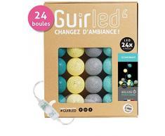 Guirnalda luminosa Bolas de algodón LED USB – cargador USB doble 2 A) – 3 intensidades – 24 bolas – Escandinavo