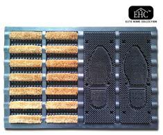 EHC Heavy Duty medio cepillo de fibra de coco con base entrada impresión Felpudo, Multicolor, 40 x 60 cm
