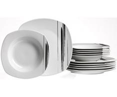 Ritzenhoff & Breker Tafelservice Nero Teilig Vajilla, Porcelana, Weiß Mit Schwarzen Linien, 25 x 21 x 26 cm, 12 Unidades