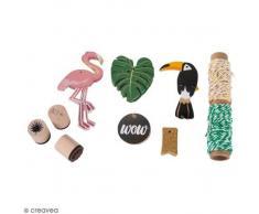 Rayher Juego de Regalo Colgante Tropical, Tags + Cordón + Sellos, Papel, Multicolor, 16.5x 14x 3cm, 5Unidades de Medida