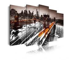 Dekoarte 247 - Cuadro moderno en lienzo de 5 piezas, New York puente de Brooklyn, 150x80cm