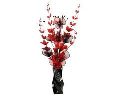 Flourish 725426 E13 - Florero con grande y negro flores artificiales, rojo, 80 cm, color rojo