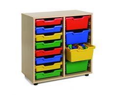 Mobeduc 600210HP18 - Mueble infantil bajo/cubetero de 2 columnas, madera, color haya, 70 x 40 x 76.5 cm