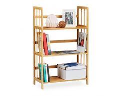 Relaxdays – Estantería de bambú, madera, 3 niveles, HxWxD: 88 x 55 x 26 cm, cuarto de baño estante, estante para zapatos, unidad de almacenamiento, color marrón
