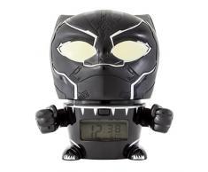 BulbBotz Despertador Infantil con Luz Nocturna de Black Panther de Vengadores, Negro, 11.5x15.3x16.5 cm, 2021449