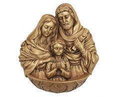 Diseño Toscano Sagrada Familia Pared escultura de fuente, dorado