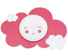 elobra Niños Lámpara Wolke Smile Star Light de efecto – Lámpara LED de techo para niños, tono ajustable, madera, color rosa y blanco, 75 x 50 x 10 cm