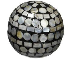 Moycor 75703 Bola Decorativa Nácar Natural y Negro 8x8x8 cm