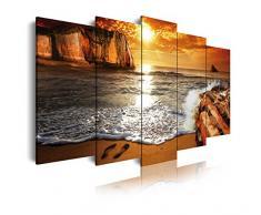 DekoArte 263 - Cuadro moderno en lienzo 5 piezas paisaje amanecer en playa, 150x3x80cm