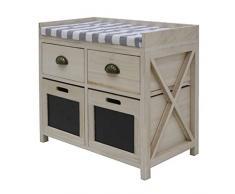 Better & Best 2861207 - Banco con 2 cajones y 2 puertas, color madera natural , Madera/metal/algodón, Color Blanco, 63x33x54 cm