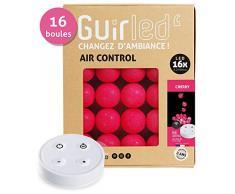 Guirnalda luminosa Bolas de algodón LED USB – incluye mando a distancia inalámbrico – Cargador doble USB 2 A – 4 intensidades – 16 bolas – Cherry