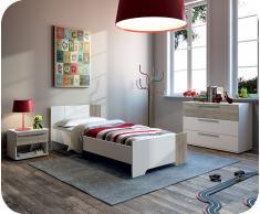 Dormitorio juvenil Jazz Blanco y Roble Gris