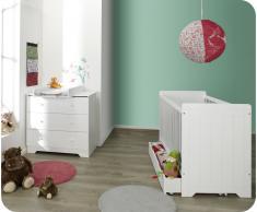 Mini dormitorio OSLO Blanco Colchón incluido