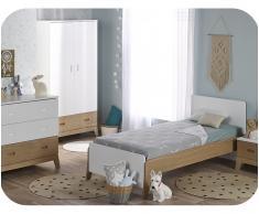 Dormitorio juvenil ALOA de 4 Muebles Blanco y Madera