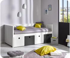 Pack Sofa Cama SWAM Blanco con 4 cajones Blancos y Gris + Colchón