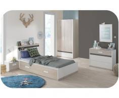 Dormitorio juvenil LEO de 5 Muebles Blanco y Madera